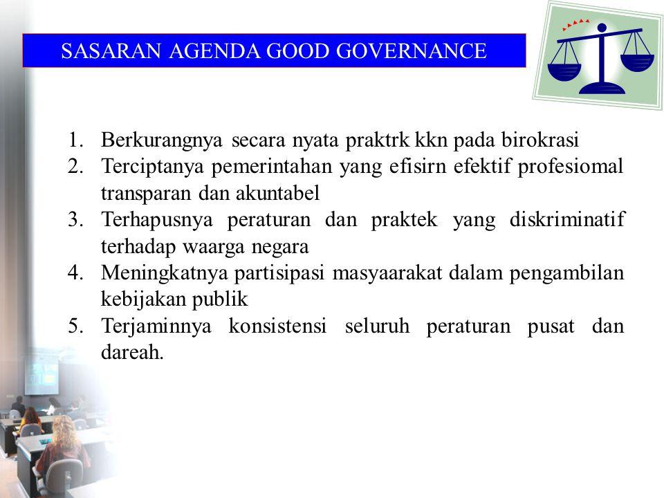 SASARAN AGENDA GOOD GOVERNANCE