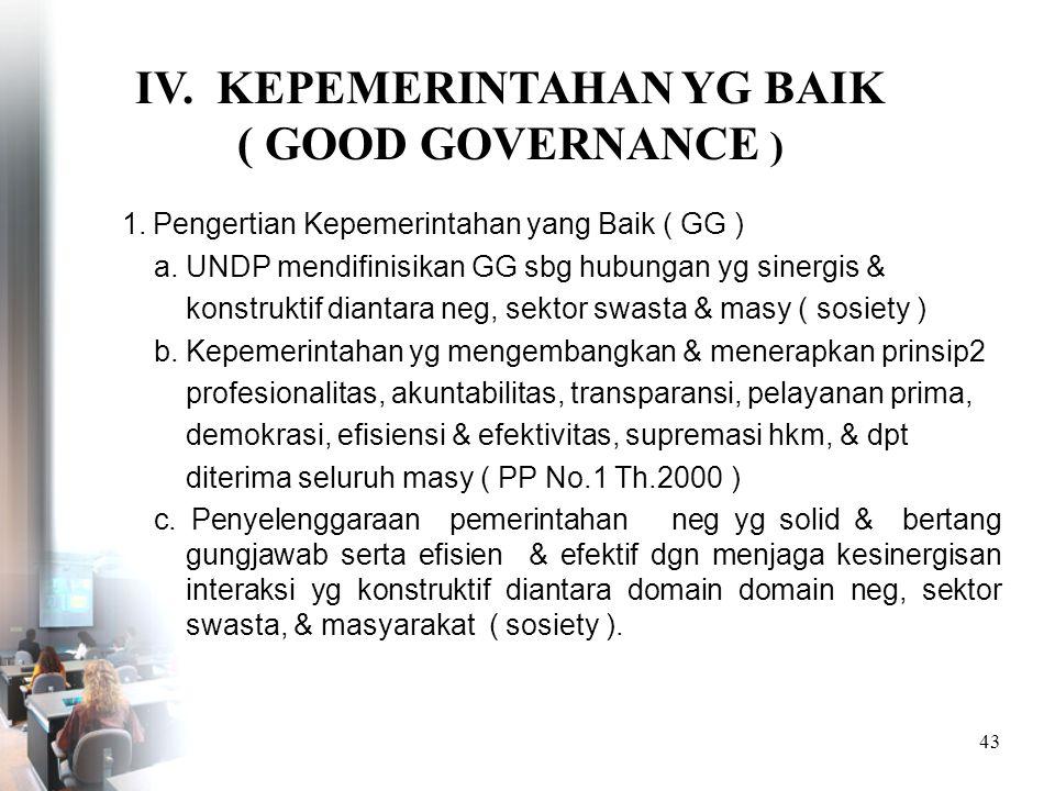 IV. KEPEMERINTAHAN YG BAIK ( GOOD GOVERNANCE )