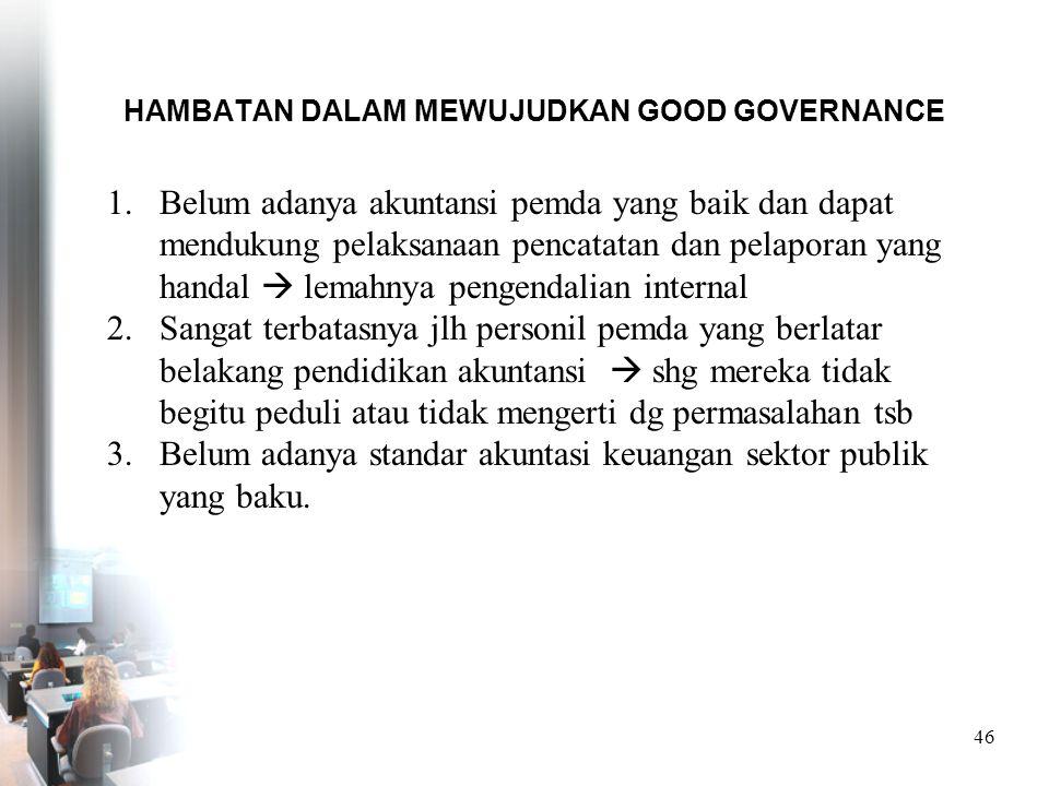 HAMBATAN DALAM MEWUJUDKAN GOOD GOVERNANCE