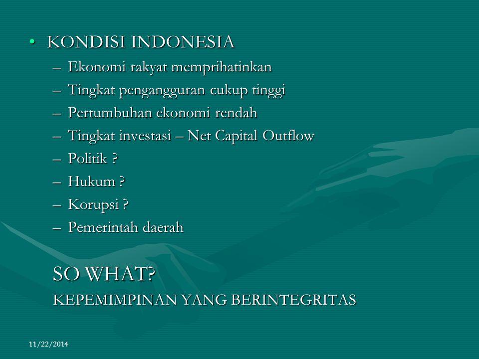 SO WHAT KONDISI INDONESIA Ekonomi rakyat memprihatinkan