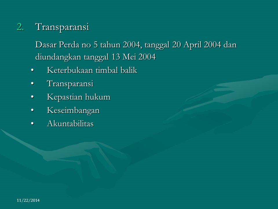 Transparansi Dasar Perda no 5 tahun 2004, tanggal 20 April 2004 dan diundangkan tanggal 13 Mei 2004.