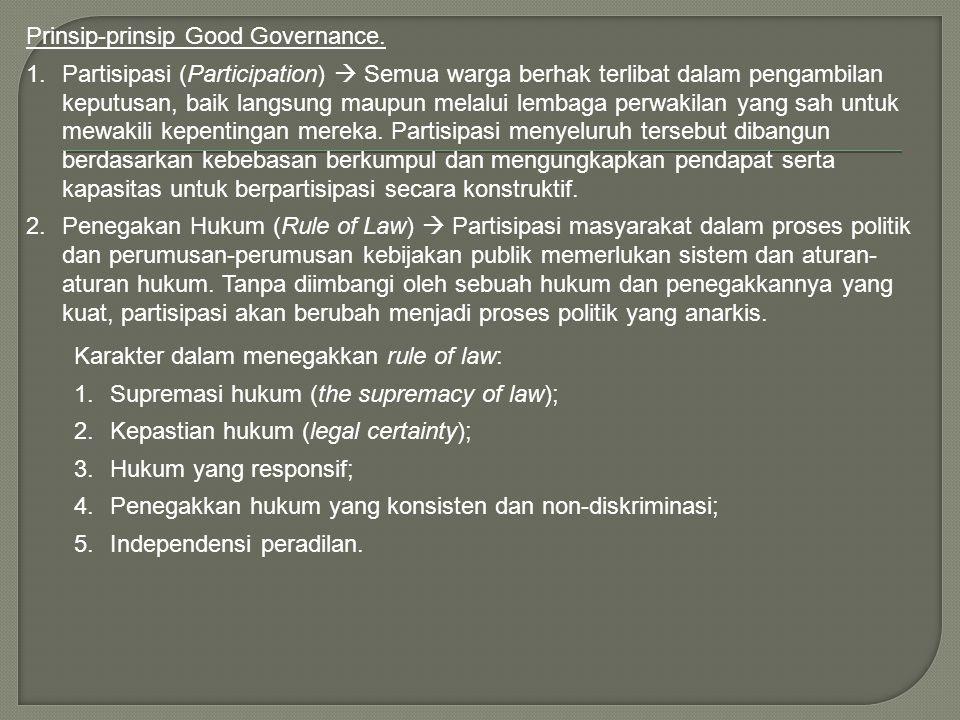 Prinsip-prinsip Good Governance.
