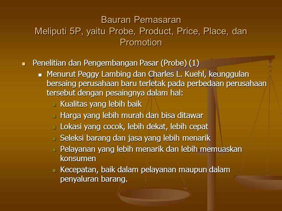 Bauran Pemasaran Meliputi 5P, yaitu Probe, Product, Price, Place, dan Promotion