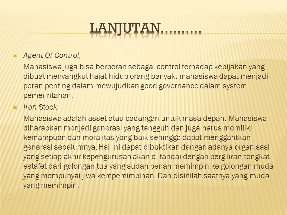 LANJUTAN.......... Agent Of Control,