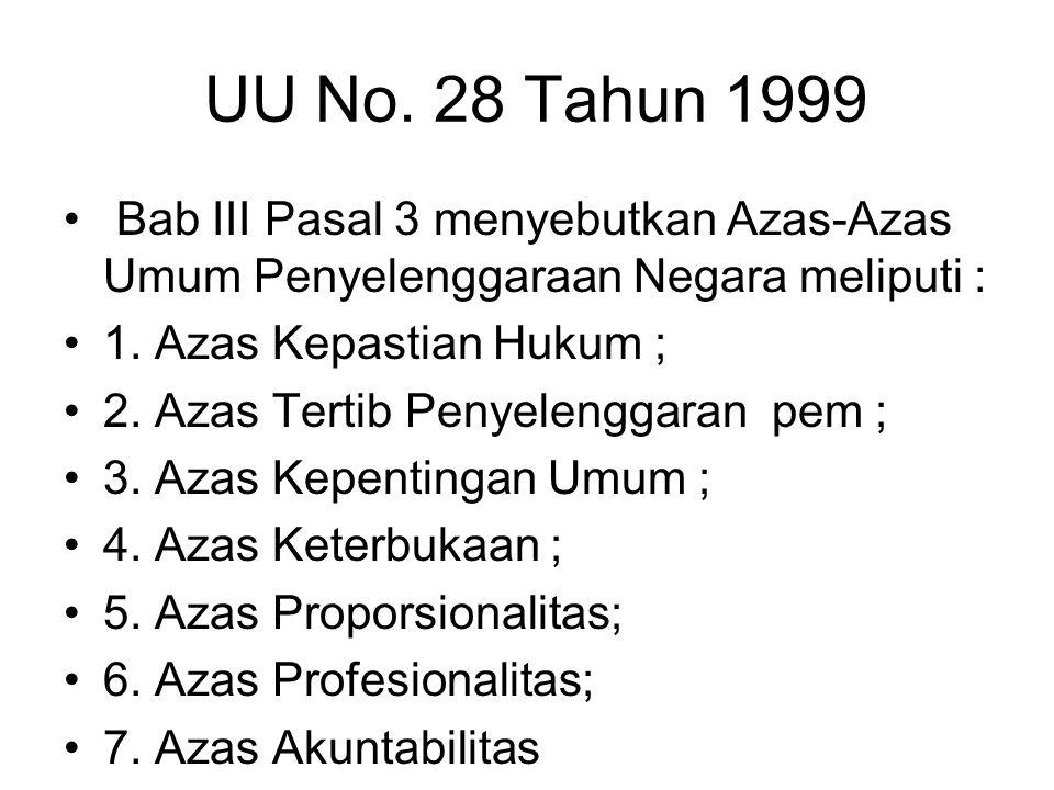 UU No. 28 Tahun 1999 Bab III Pasal 3 menyebutkan Azas-Azas Umum Penyelenggaraan Negara meliputi : 1. Azas Kepastian Hukum ;