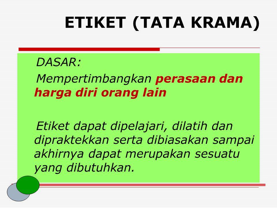 ETIKET (TATA KRAMA) DASAR: