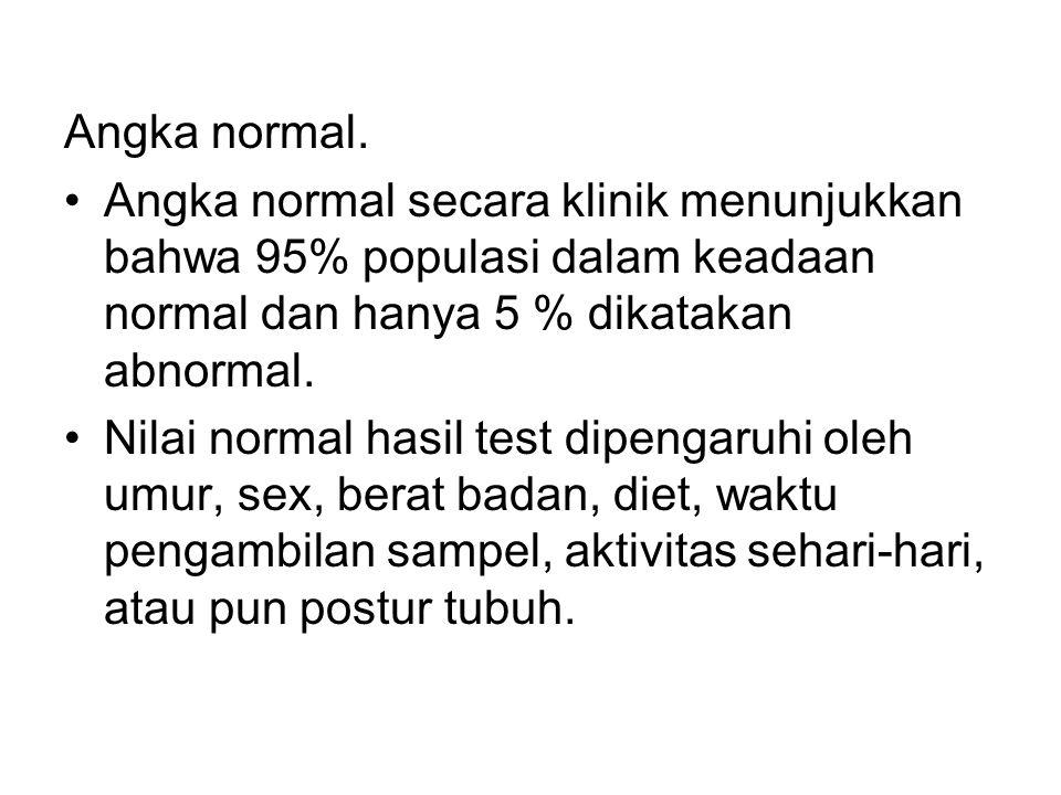 Angka normal. Angka normal secara klinik menunjukkan bahwa 95% populasi dalam keadaan normal dan hanya 5 % dikatakan abnormal.