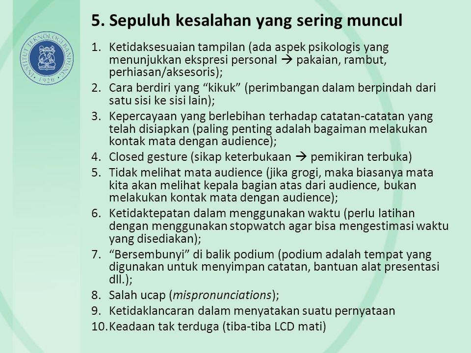 5. Sepuluh kesalahan yang sering muncul