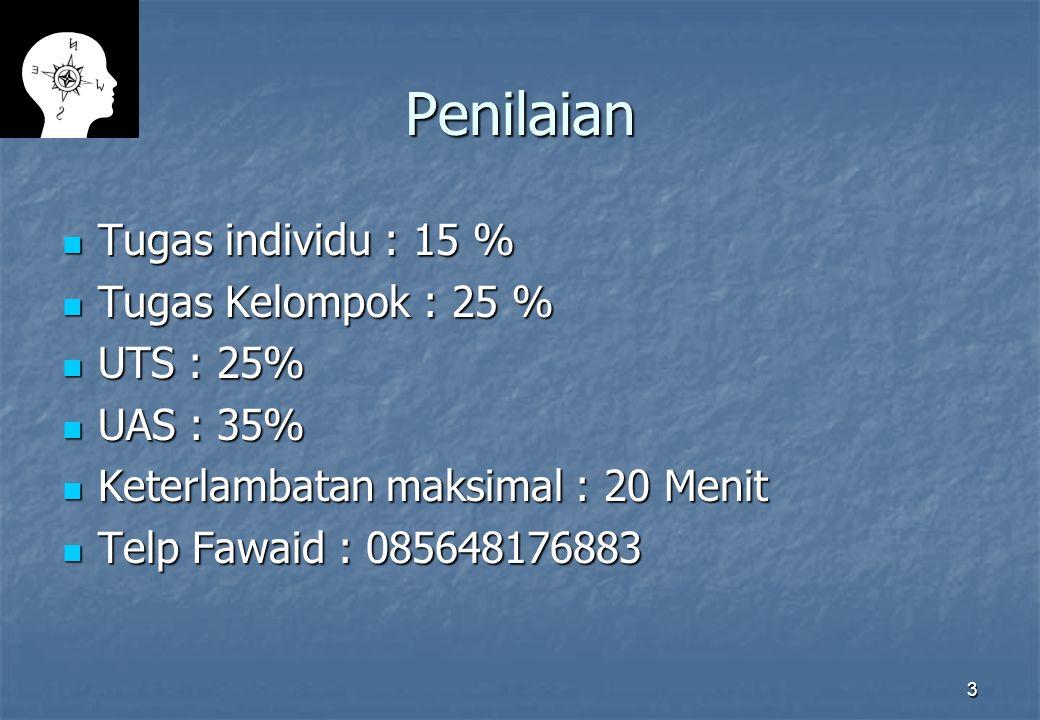 Penilaian Tugas individu : 15 % Tugas Kelompok : 25 % UTS : 25%