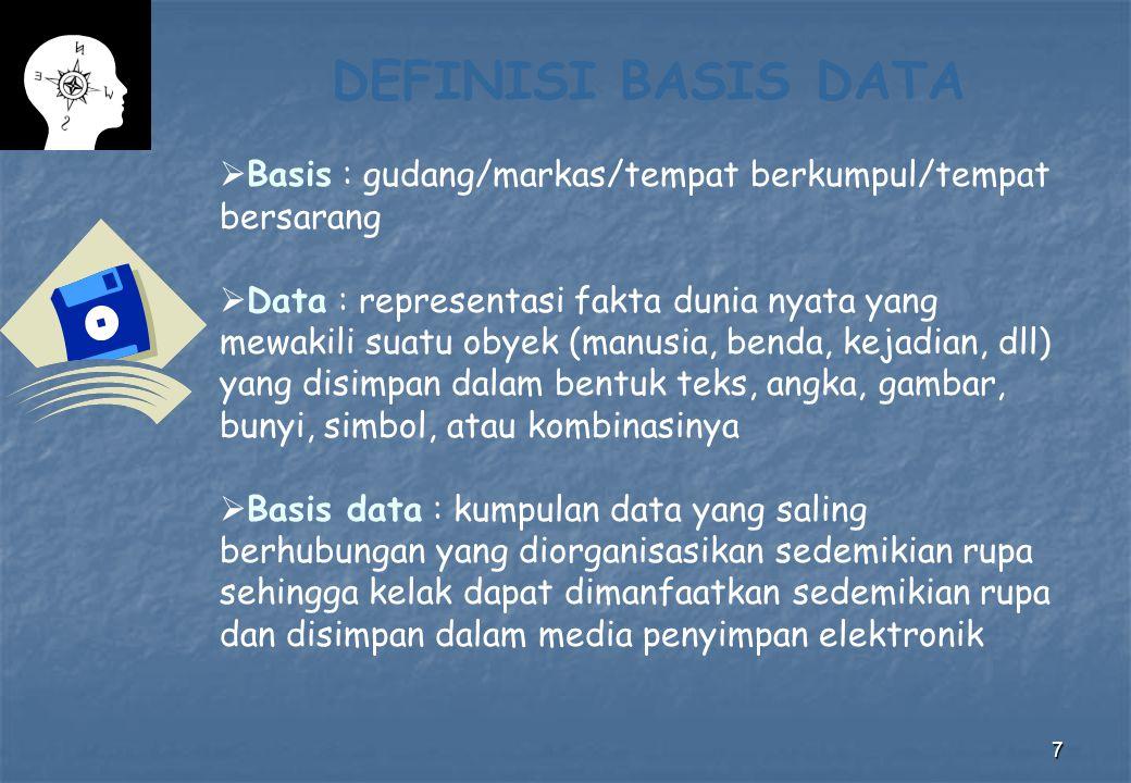 DEFINISI BASIS DATA Basis : gudang/markas/tempat berkumpul/tempat bersarang.