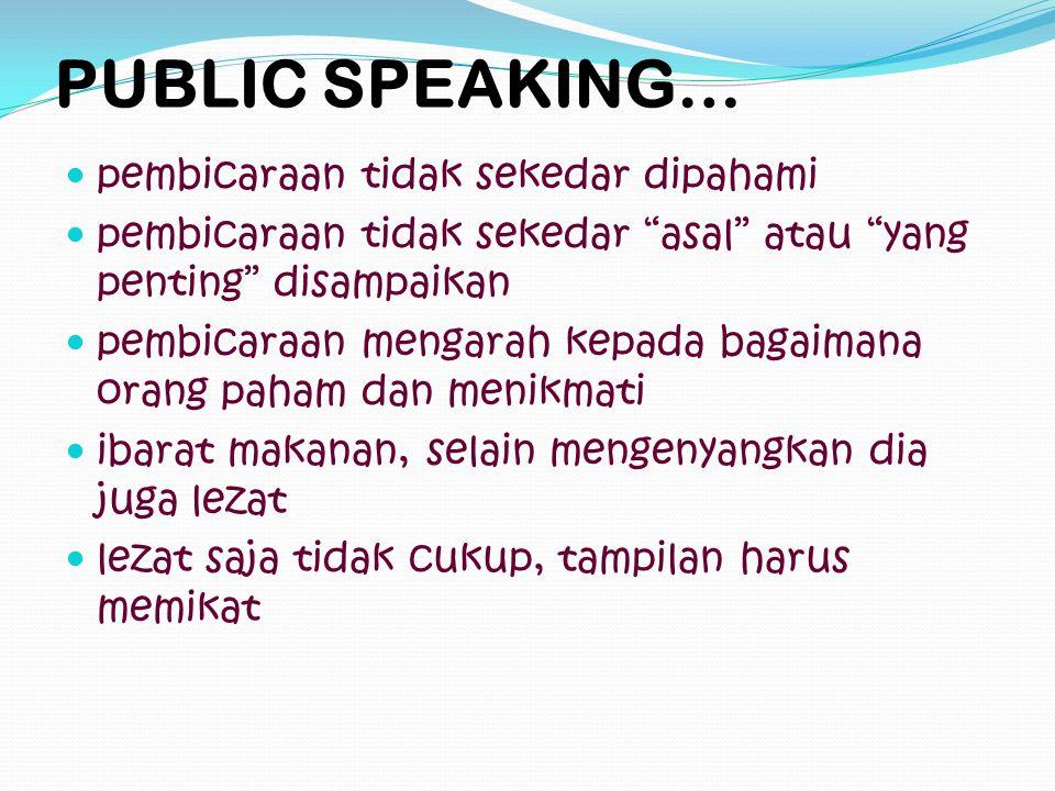 PUBLIC SPEAKING… pembicaraan tidak sekedar dipahami