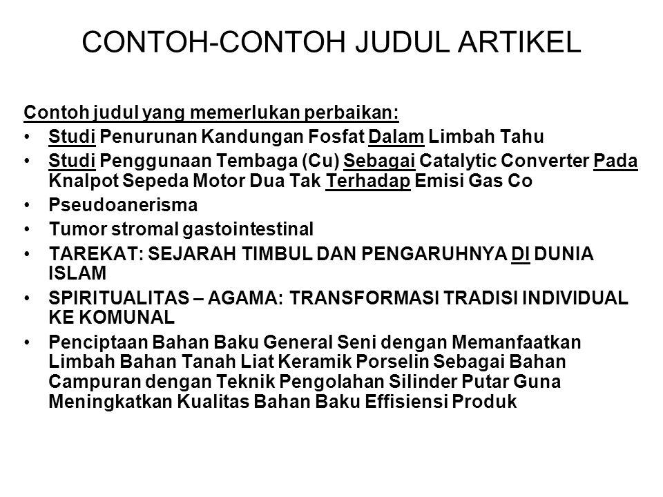 CONTOH-CONTOH JUDUL ARTIKEL