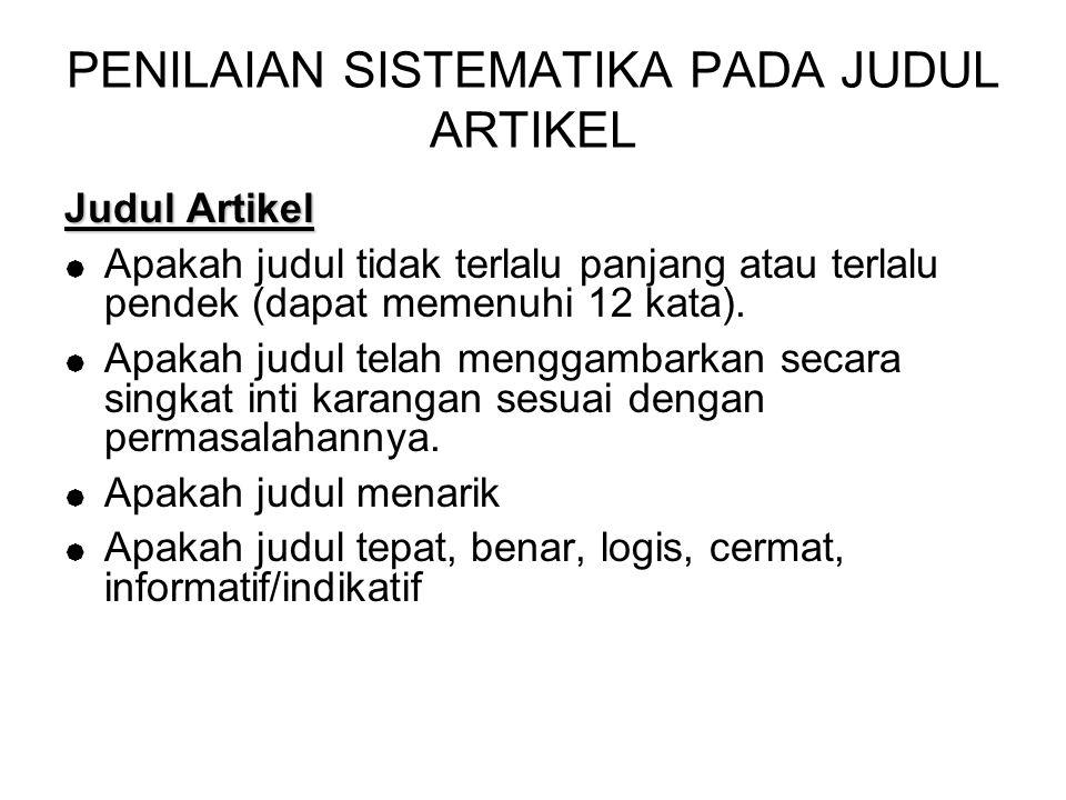 PENILAIAN SISTEMATIKA PADA JUDUL ARTIKEL