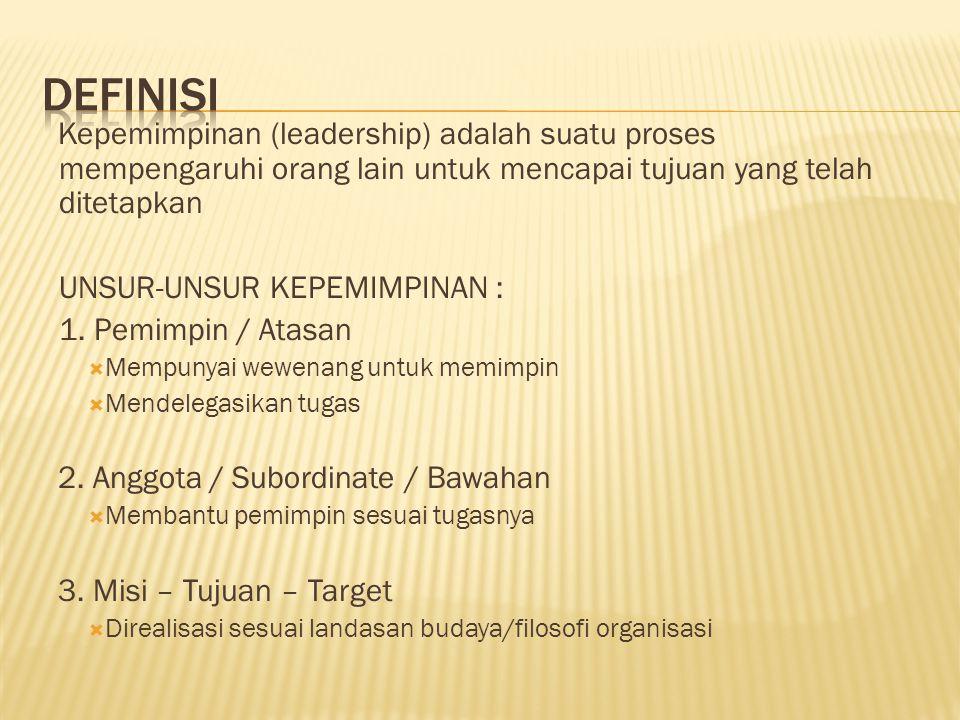 DEFINISI Kepemimpinan (leadership) adalah suatu proses mempengaruhi orang lain untuk mencapai tujuan yang telah ditetapkan.