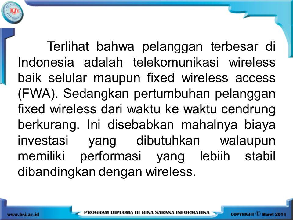 Terlihat bahwa pelanggan terbesar di Indonesia adalah telekomunikasi wireless baik selular maupun fixed wireless access (FWA).