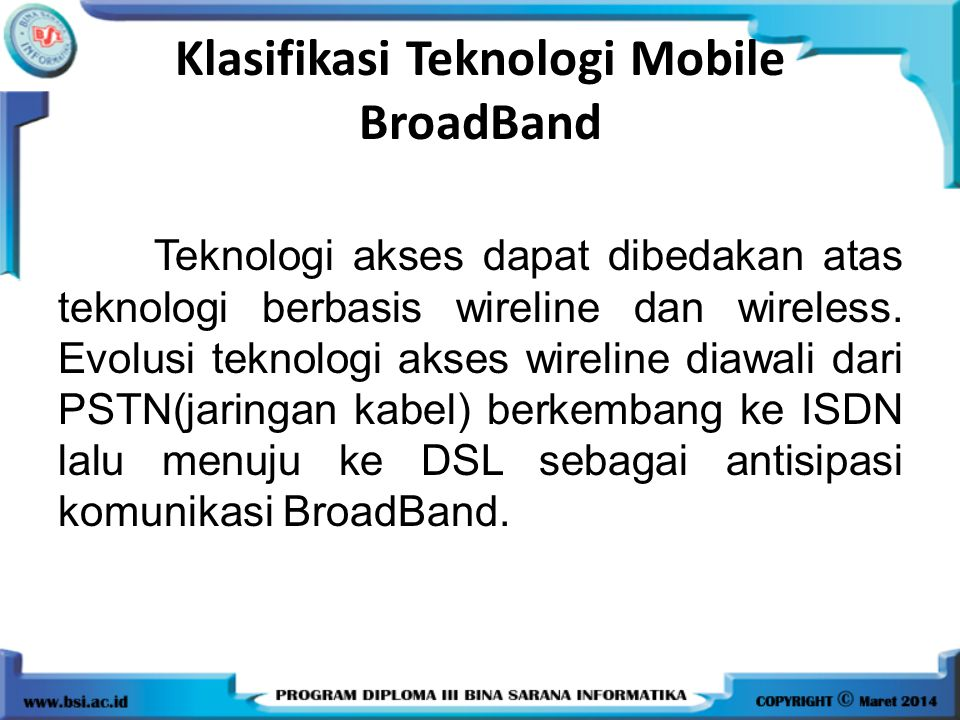 Klasifikasi Teknologi Mobile BroadBand
