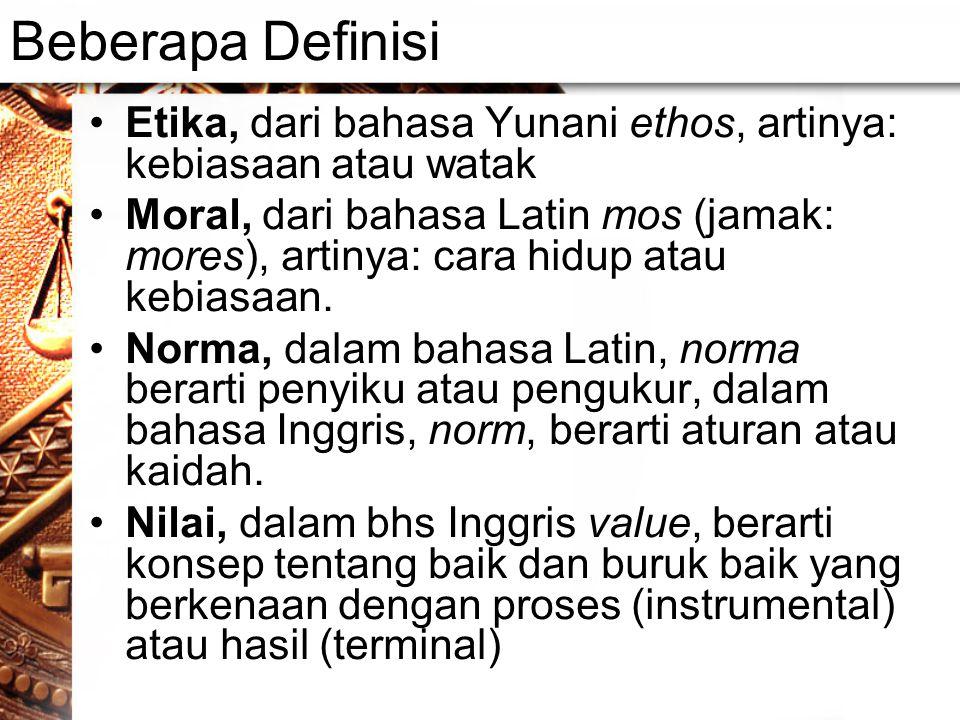 Beberapa Definisi Etika, dari bahasa Yunani ethos, artinya: kebiasaan atau watak.