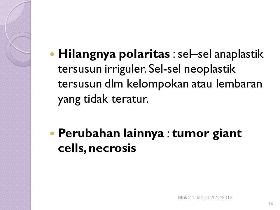 Perubahan lainnya : tumor giant cells, necrosis
