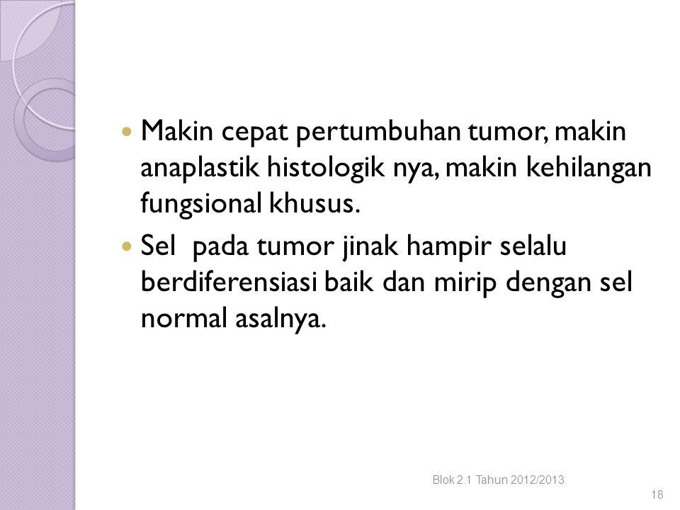 Makin cepat pertumbuhan tumor, makin anaplastik histologik nya, makin kehilangan fungsional khusus.