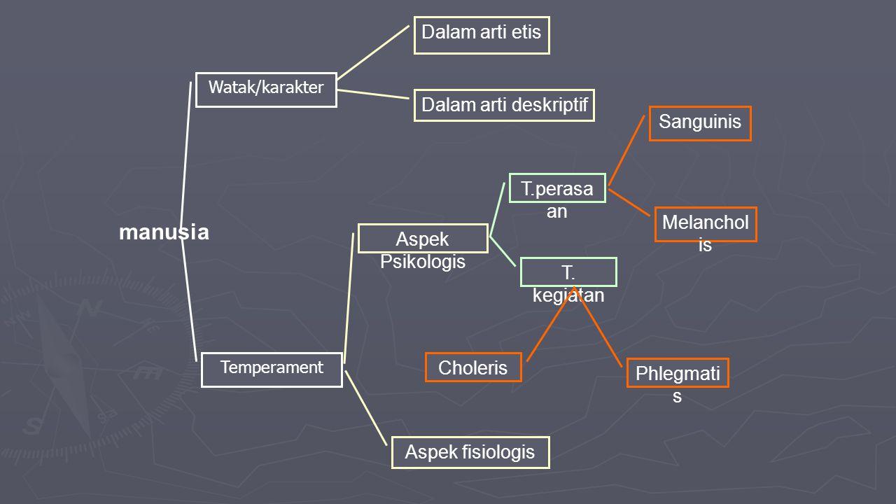 manusia Dalam arti etis Dalam arti deskriptif Sanguinis T.perasaan