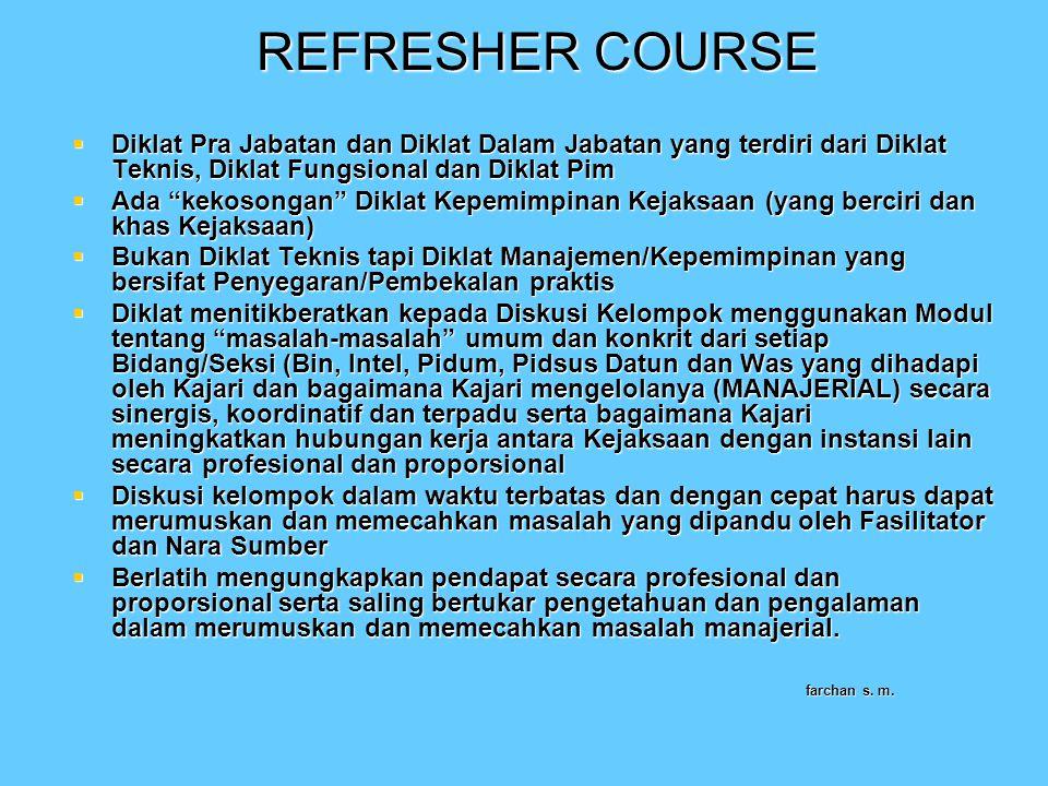 REFRESHER COURSE Diklat Pra Jabatan dan Diklat Dalam Jabatan yang terdiri dari Diklat Teknis, Diklat Fungsional dan Diklat Pim.