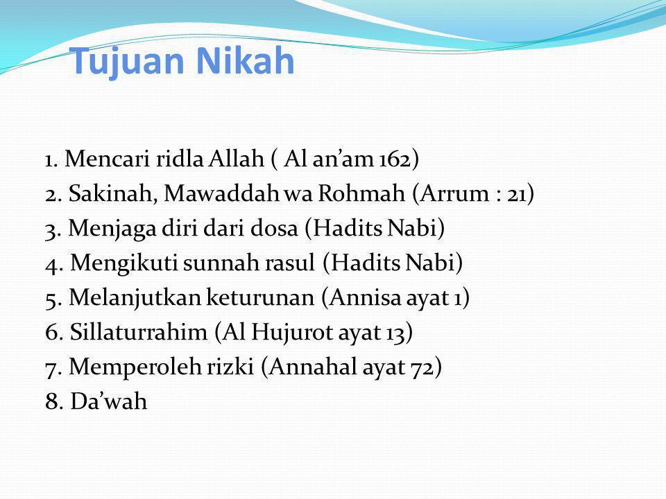 Tujuan Nikah 1. Mencari ridla Allah ( Al an'am 162)
