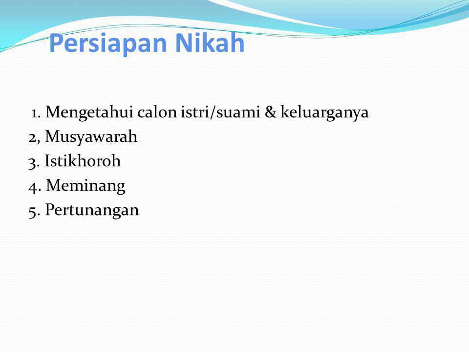 Persiapan Nikah 1. Mengetahui calon istri/suami & keluarganya 2, Musyawarah 3.