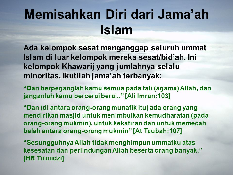 Memisahkan Diri dari Jama'ah Islam