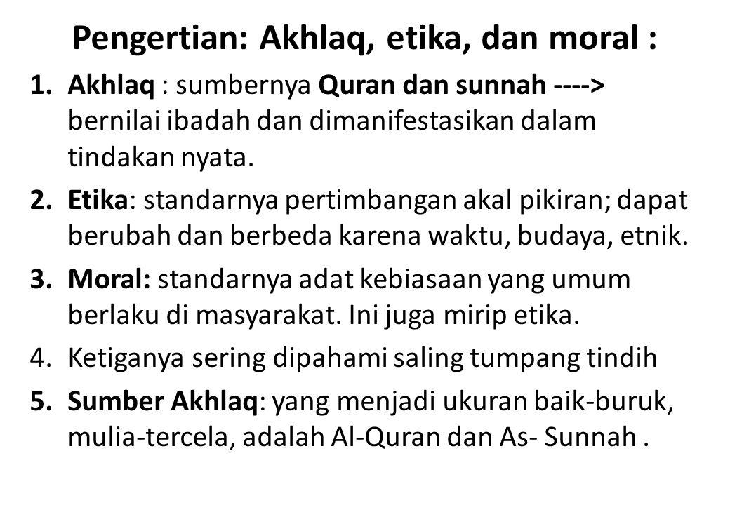 Pengertian: Akhlaq, etika, dan moral :
