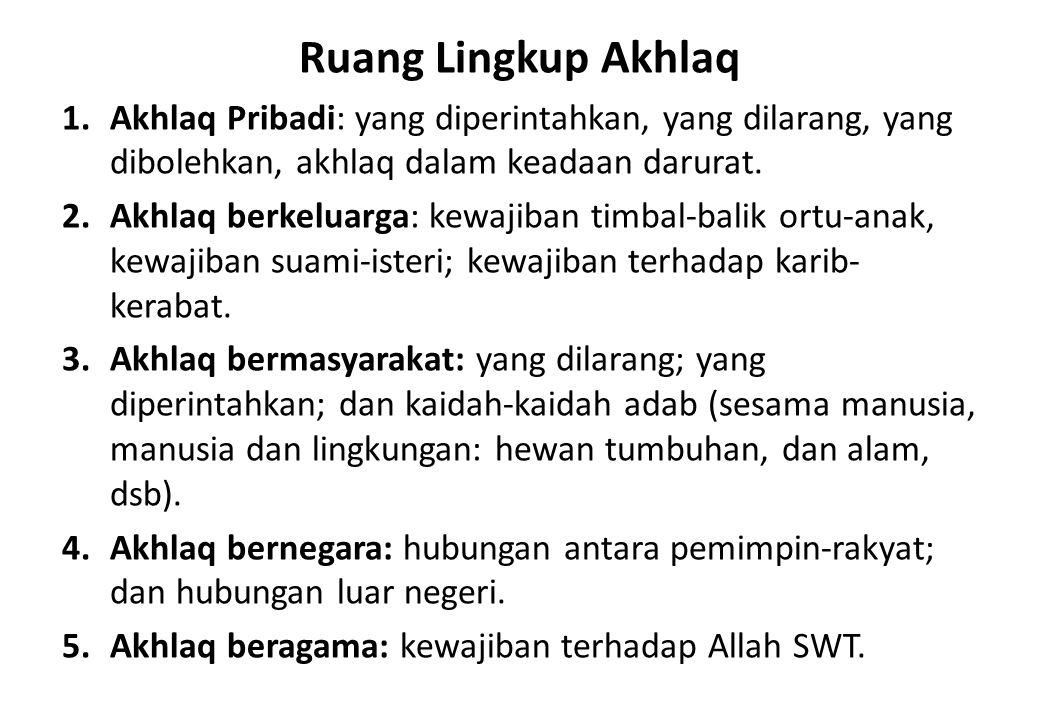 Ruang Lingkup Akhlaq Akhlaq Pribadi: yang diperintahkan, yang dilarang, yang dibolehkan, akhlaq dalam keadaan darurat.