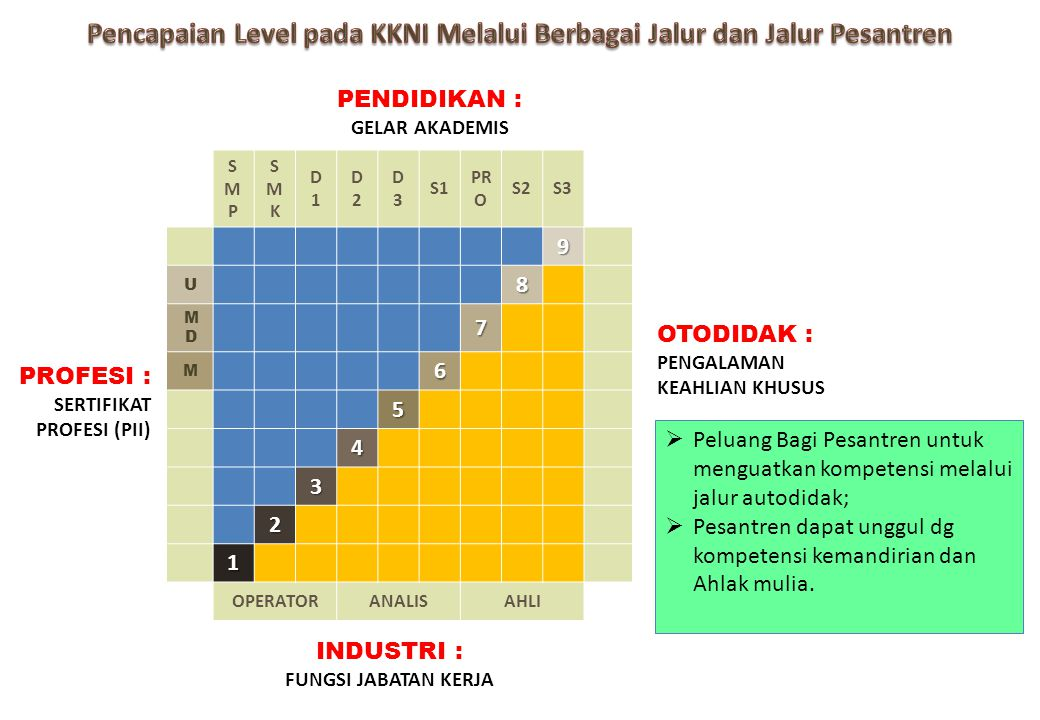 Pencapaian Level pada KKNI Melalui Berbagai Jalur dan Jalur Pesantren