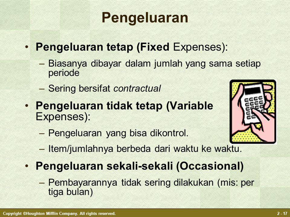 Pengeluaran Pengeluaran tetap (Fixed Expenses):