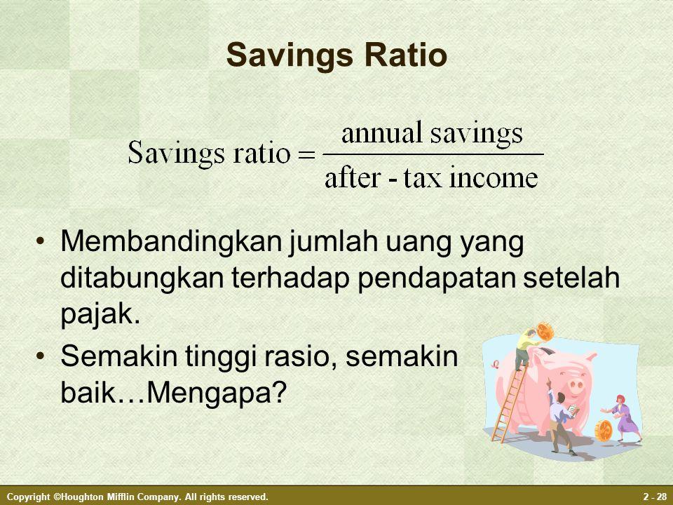 Savings Ratio Membandingkan jumlah uang yang ditabungkan terhadap pendapatan setelah pajak. Semakin tinggi rasio, semakin baik…Mengapa