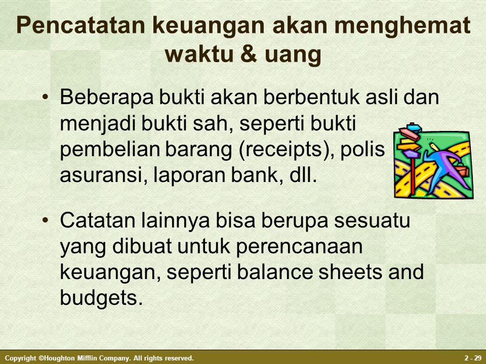 Pencatatan keuangan akan menghemat waktu & uang