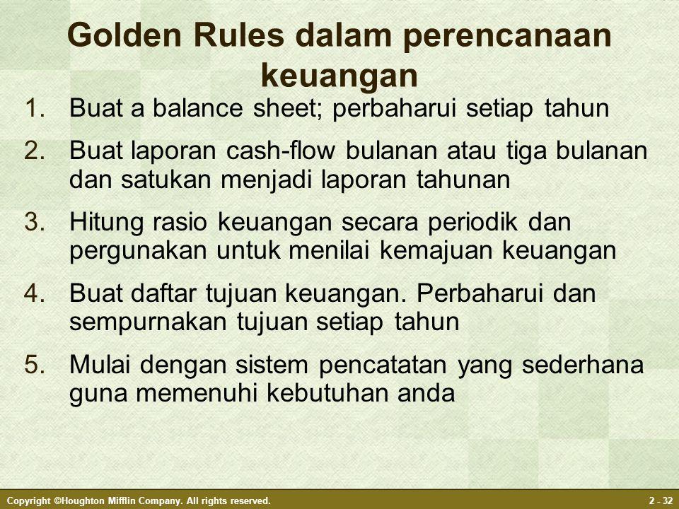 Golden Rules dalam perencanaan keuangan