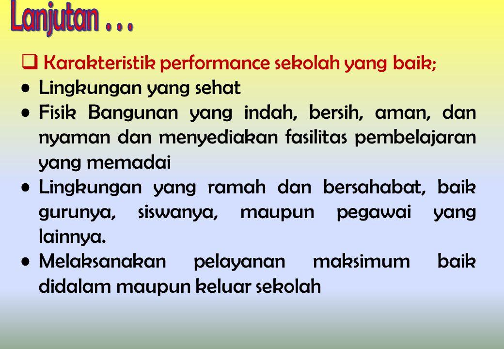 Karakteristik performance sekolah yang baik; Lingkungan yang sehat