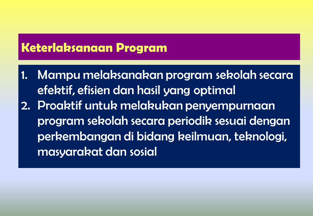 Keterlaksanaan Program