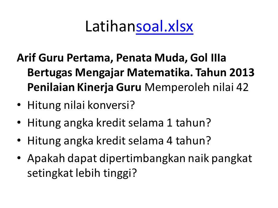 Latihansoal.xlsx Arif Guru Pertama, Penata Muda, Gol IIIa Bertugas Mengajar Matematika. Tahun 2013 Penilaian Kinerja Guru Memperoleh nilai 42.