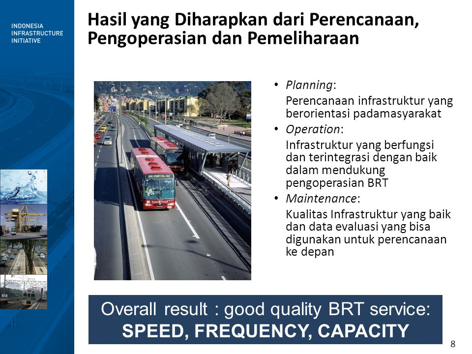 Overall result : good quality BRT service: SPEED, FREQUENCY, CAPACITY