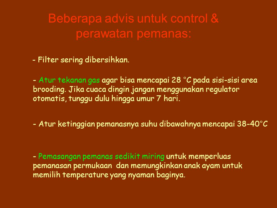 Beberapa advis untuk control &