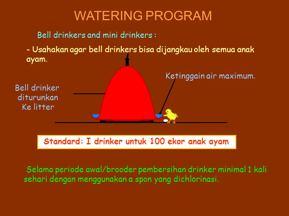 WATERING PROGRAM Bell drinkers and mini drinkers :