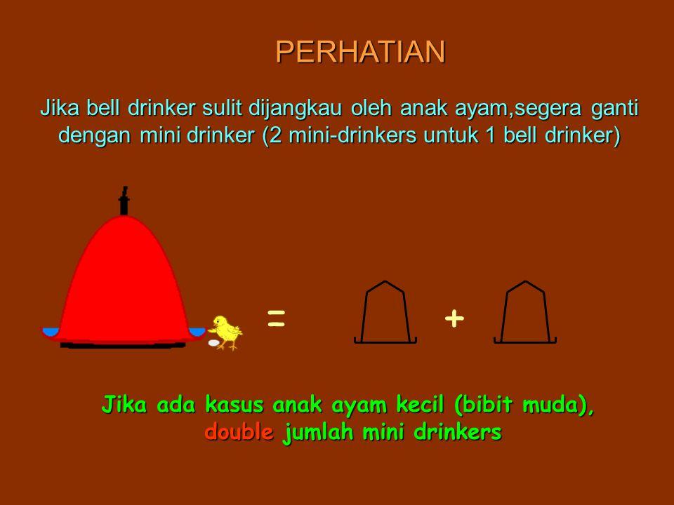 PERHATIAN Jika bell drinker sulit dijangkau oleh anak ayam,segera ganti dengan mini drinker (2 mini-drinkers untuk 1 bell drinker)