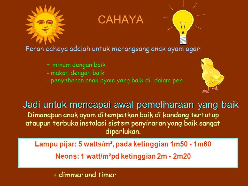 Lampu pijar: 5 watts/m², pada ketinggian 1m50 - 1m80