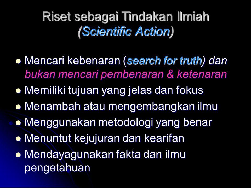 Riset sebagai Tindakan Ilmiah (Scientific Action)