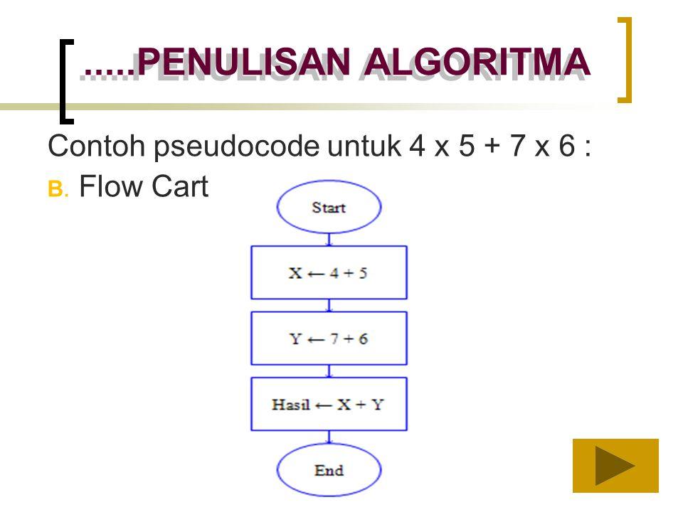 .....PENULISAN ALGORITMA Contoh pseudocode untuk 4 x 5 + 7 x 6 :