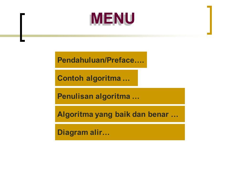 MENU Pendahuluan/Preface…. Contoh algoritma … Penulisan algoritma …