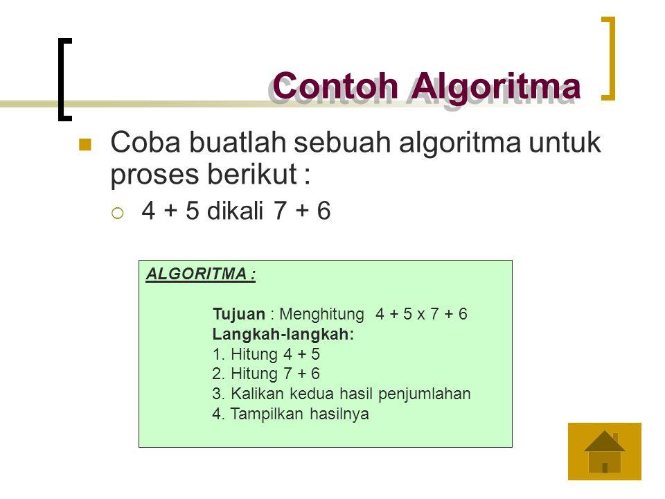 Contoh Algoritma Coba buatlah sebuah algoritma untuk proses berikut :