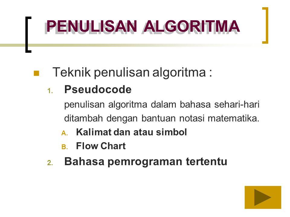 PENULISAN ALGORITMA Teknik penulisan algoritma : Pseudocode