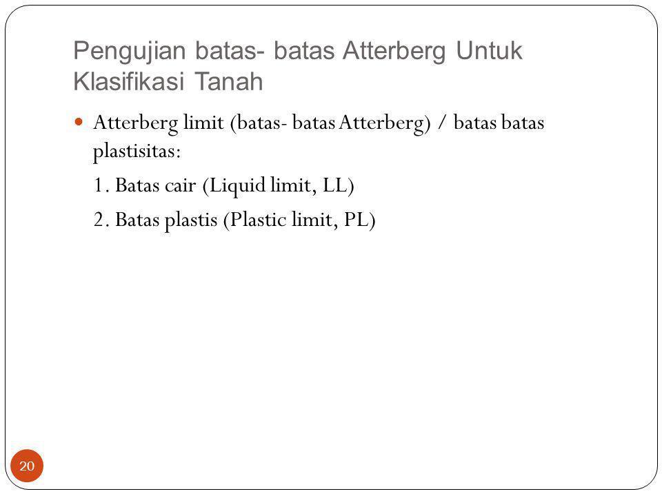 Pengujian batas- batas Atterberg Untuk Klasifikasi Tanah
