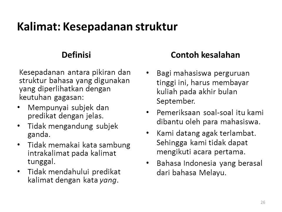 Kalimat: Kesepadanan struktur